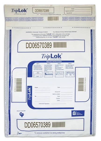 White TripLok Deposit Bag with Pocket, 12'' X 16''  | BAG-15