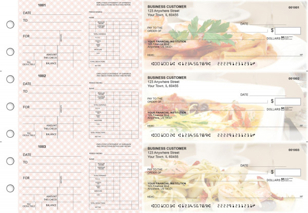 Italian Cuisine Dual Purpose Voucher Business Checks | BU3-7CDS05-DPV