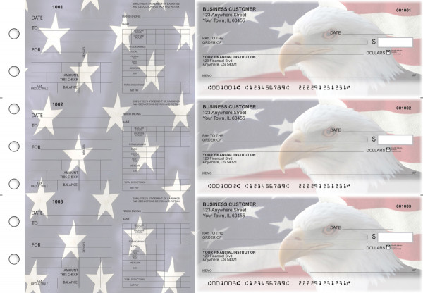 American Flag Dual Purpose Voucher Business Checks | BU3-7CDS32-DPV