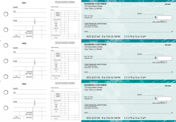 Teal Marble Dual Purpose Voucher Business Checks | BU3-7EMA01-DPV