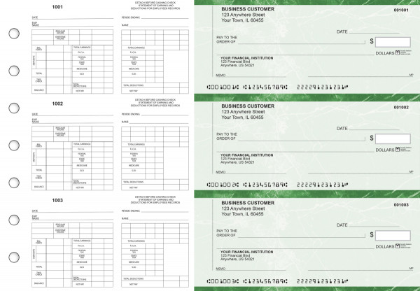 Green Marble Multi-Purpose Counter Signature Business Checks | BU3-7GMA01-MPC