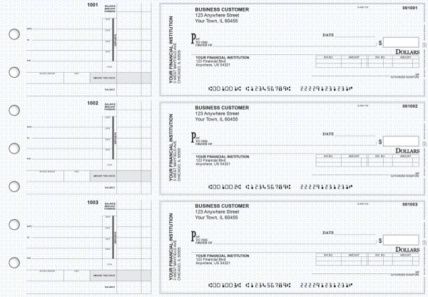 Blue Knit Invoice Business Checks | BU3-BLU02-INV