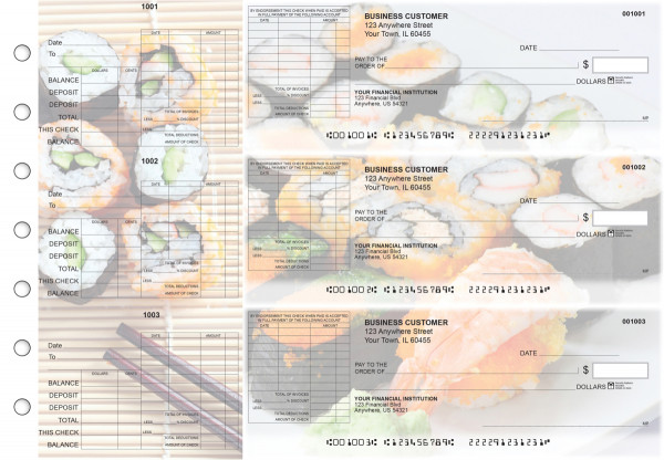 Japanese Cuisine General Itemized Invoice Business Checks | BU3-CDS06-GII