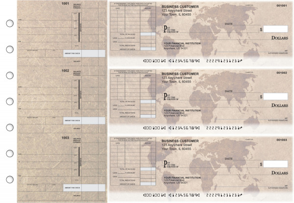 World Map Itemized Invoice Business Checks | BU3-CDS26-TNV