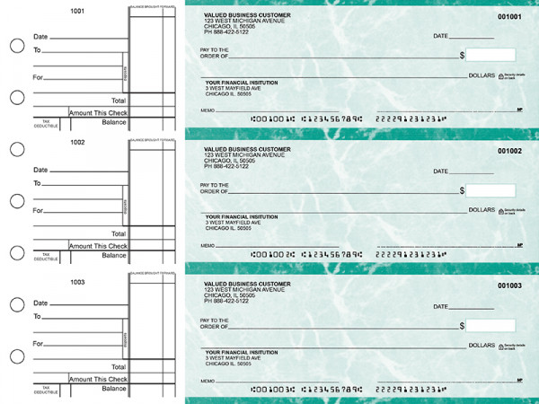 Teal Marble Standard Business Checks | BU3-EMA01-STA