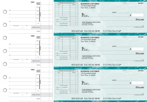 Teal Marble Itemized Invoice Business Checks | BU3-EMA01-TNV