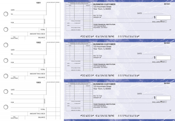 Blue Marble Standard Itemized Invoice Business Checks | BU3-LMA01-SII