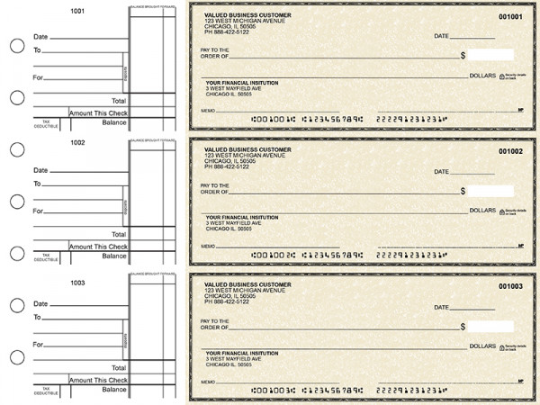 Tan Parchment Standard Business Checks | BU3-TPM01-STA