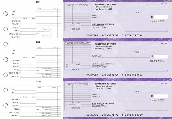 Purple Marble General Itemized Invoice Business Checks | BU3-UMA01-GII