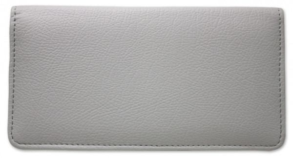Grey Leather Checkbook Cover | CLP-GRY01