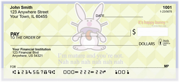 It's Happy Bunny Insults Personal Checks | IHB-04