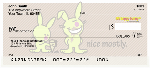 It's Happy Bunny Nice Mostly Personal Checks | IHB-06