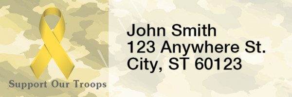 Support Our Troops Ribbon Rectangle Address Labels | LRRMIL-89