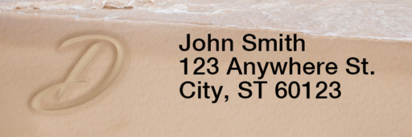 Sand Written Monogram 'D' Narrow Address Labels | LRRMONO-07D