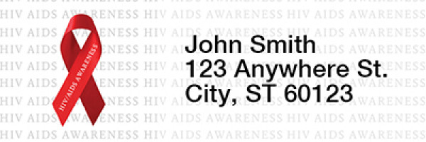 HIV/Aids Awareness Red Ribbon Narrow Address Labels | LRRRIB-17