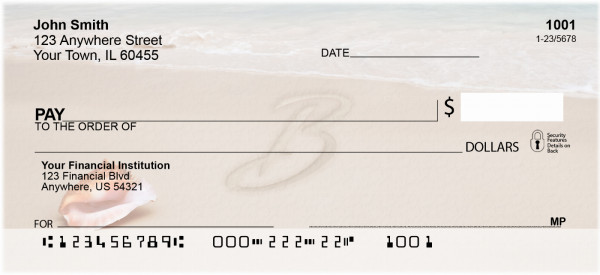 Sand Written Monogram 'B' Personal Checks | MONO-07B