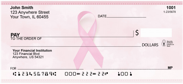 Pink Support Ribbon Personal Checks | OPC-01
