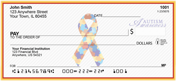 Autism Awareness Ribbon Personal Checks | RIB-07