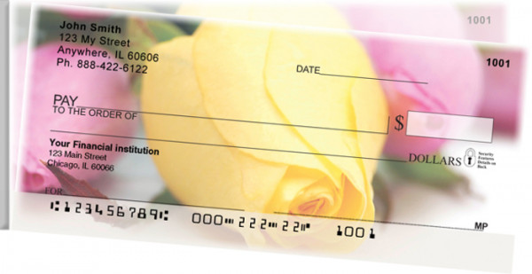 Spring Rose Bouquet Side Tear Personal Checks | STFLO-41