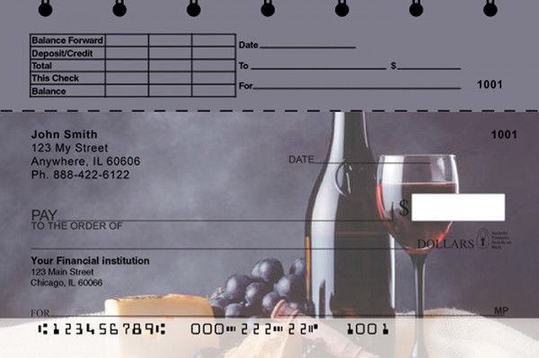 Wine Country Top Stub Personal Checks | TSFOD-03